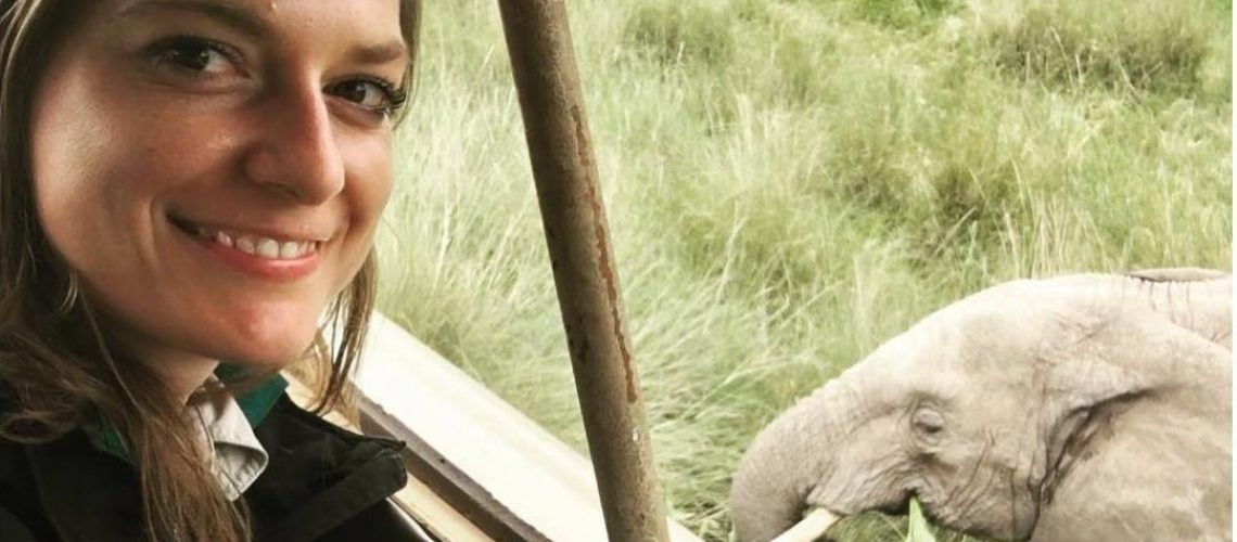 Image of Stephanie Schuttler with an elephant